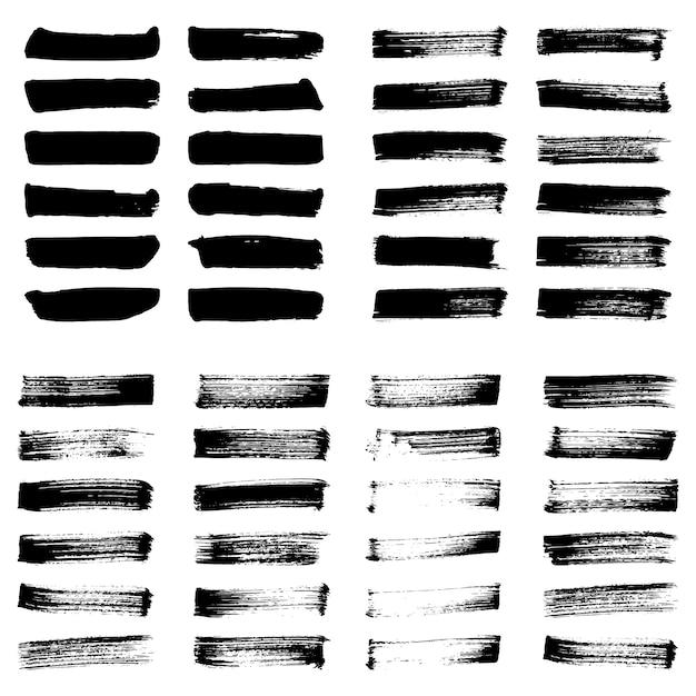 Conjunto de manchas de vetor de tinta preta. traçados de pincel artístico do grunge, elementos. Vetor Premium