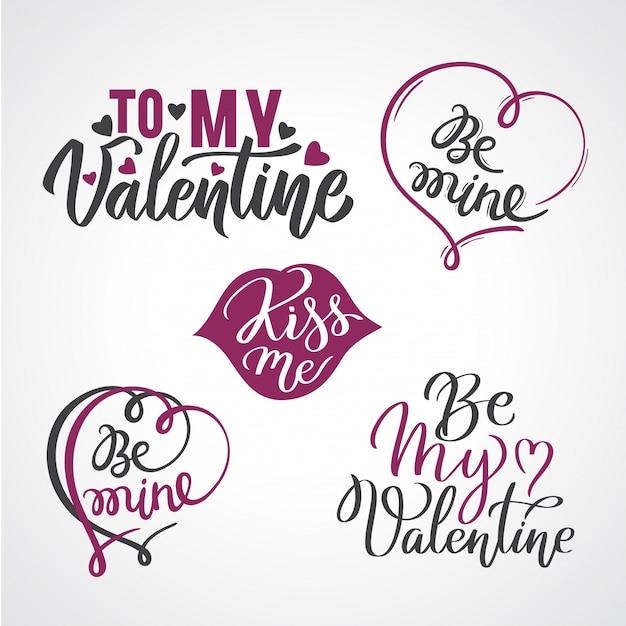 Conjunto de manchetes caligráfico de cartão de dia dos namorados com corações. Vetor Premium