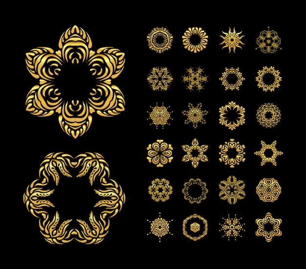 Conjunto de mandala de ouro de vetor Vetor Premium