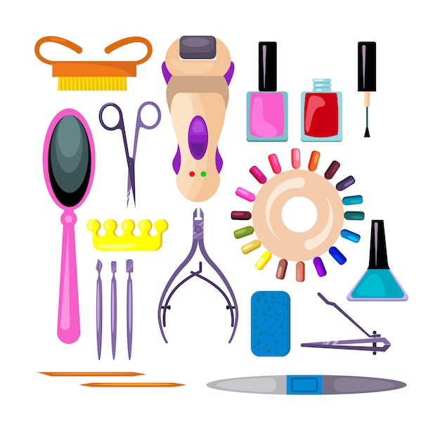 Conjunto de manicure e pedicure Vetor grátis