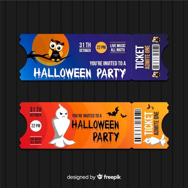 Conjunto de mão colorido desenhado de bilhetes de festa de halloween Vetor grátis