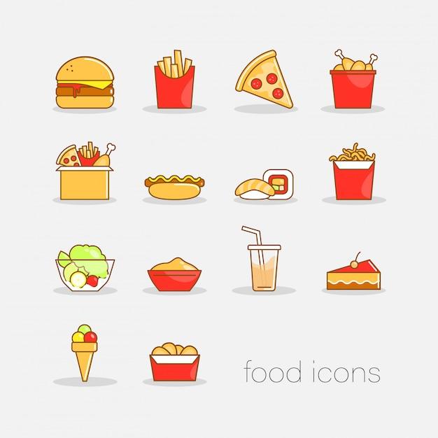 Conjunto de mão colorido desenhado doodle ícones de fast-food de estilo. apartamento colorida ilustração para web. Vetor Premium