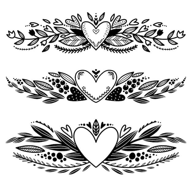 Conjunto De Mao Desenhada Amor Bordas Decorativas Para Colorir