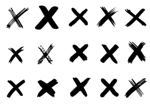 Conjunto de mão desenhada cheque (x) sinais isolados. lista de verificação marca o conjunto de ícones. esboçar marcas de seleção. Vetor Premium