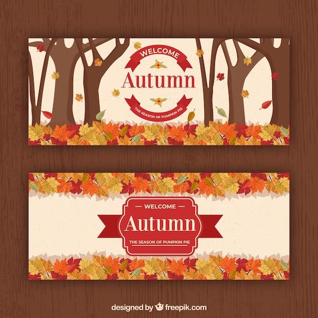 Conjunto de mão desenhada de banners de outono Vetor grátis