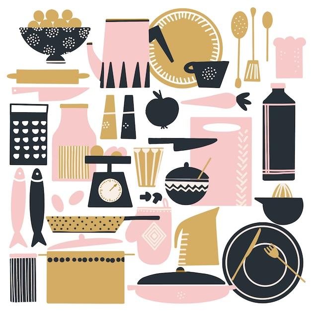 Conjunto de mão desenhada de coisas de cozinha escandinavo fofos Vetor Premium