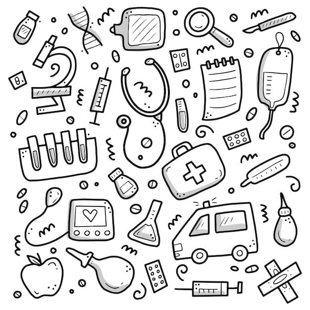 Conjunto de mão desenhada de elementos de medicina, comprimido, tablet, estetoscópio. Vetor Premium