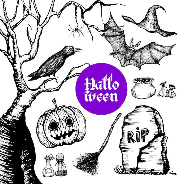 Conjunto de mão desenhada de halloween Vetor grátis
