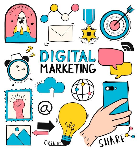Conjunto de mão desenhada de ilustração de símbolos de marketing digital Vetor grátis