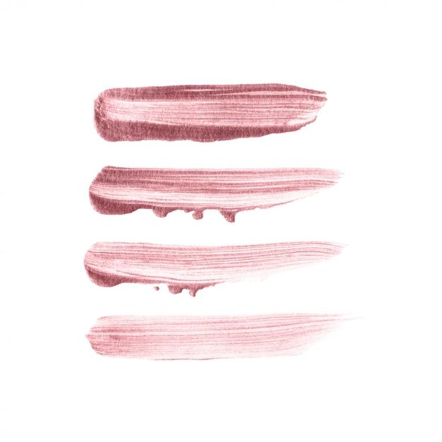 Conjunto de mão desenhada de pincel rosa ouro Vetor Premium