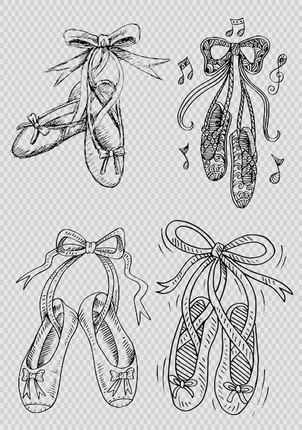 Conjunto de mão desenhada de sapatos ballet Vetor Premium