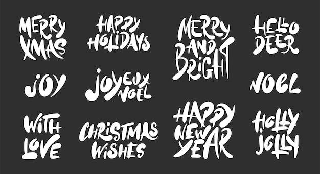 Conjunto de mão desenhada férias de natal e ano novo Vetor Premium