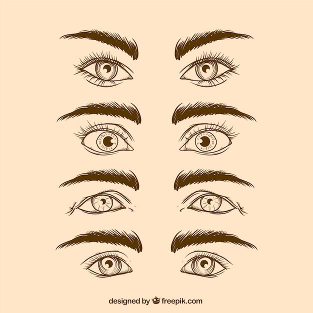 Conjunto de mão desenhada olhos e sobrancelhas realistas Vetor grátis