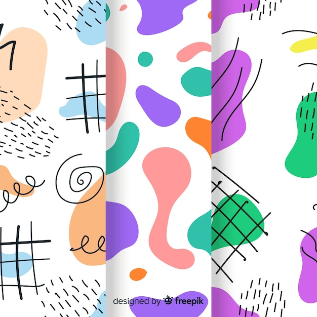 Conjunto de mão desenhada padrão abstrato Vetor grátis
