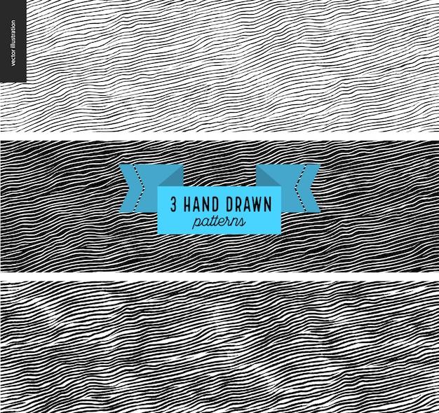 Conjunto de mão desenhada padrão de tecido preto, branco. padrão sem emenda de vetor. textura monocromática. design gráfico de hipster. vetor sem fim, texturas arranhadas simples, listras Vetor Premium