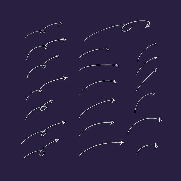 Conjunto de mão desenhada setas e linhas. Vetor Premium