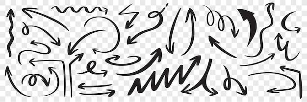 Conjunto de mão desenhada setas pretas. doodle rabisco disperso curvo esboço ponteiro linha direção seta Vetor Premium
