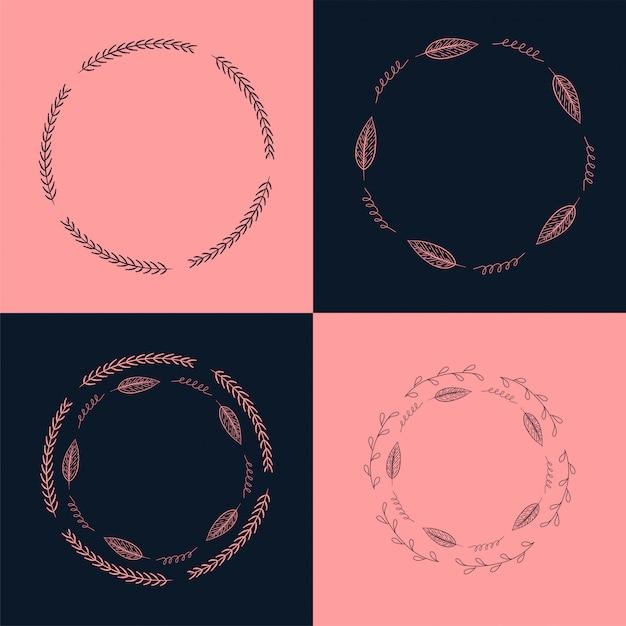 Conjunto de mão desenhada tinta círculo pintado quadros florais Vetor Premium