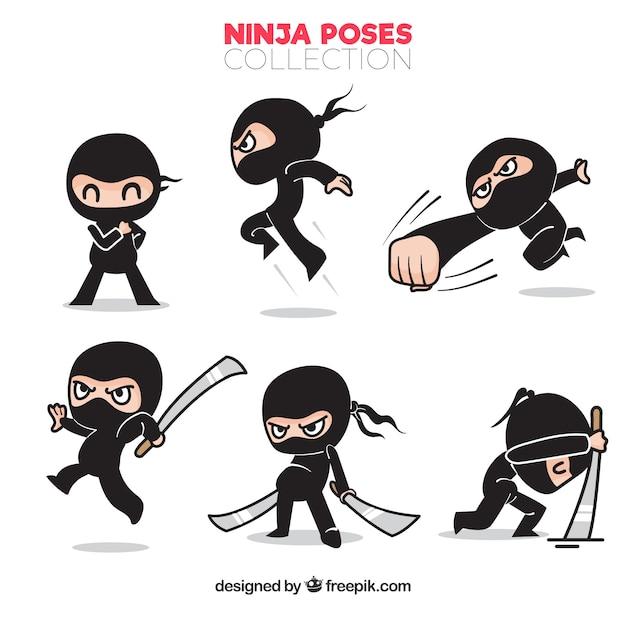 Conjunto de mão desenhada tradicional personagem ninja Vetor grátis