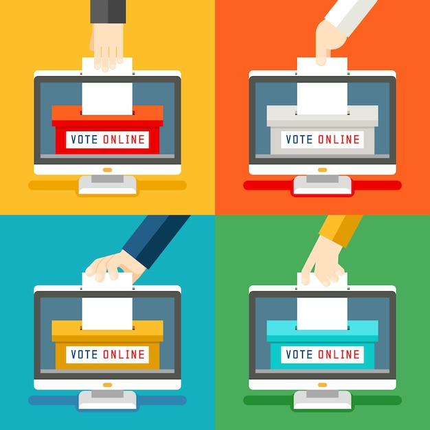 Conjunto de mãos para votação online. votação remota e inovação tecnológica Vetor grátis