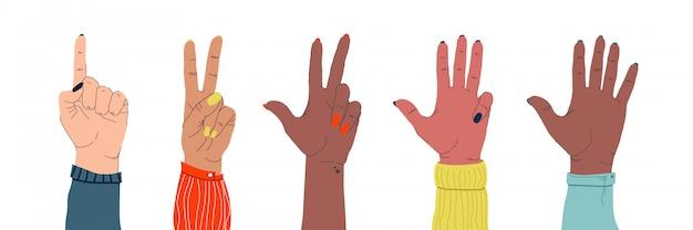 Conjunto de mãos ternas femininas de diferentes nacionalidades, mostrando diferentes gestos em um branco isolado Vetor Premium