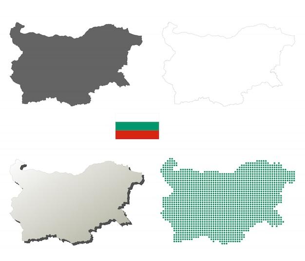 Conjunto de mapa de contorno de vetor de bulgária Vetor Premium