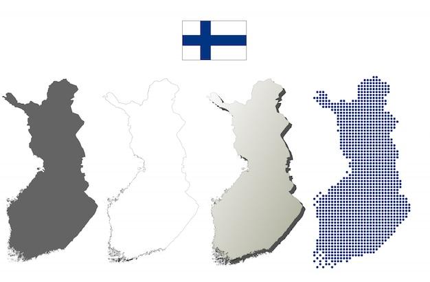 Conjunto de mapa de contorno vector finlândia Vetor Premium