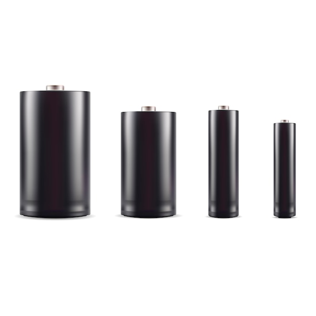 Conjunto de maquete de bateria alcalina preta. 3d realista Vetor Premium