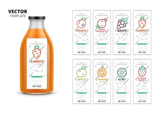 Conjunto de maquete de embalagens de suco fresco Vetor Premium