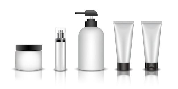 Conjunto de maquete de garrafa cosmética realista Vetor Premium