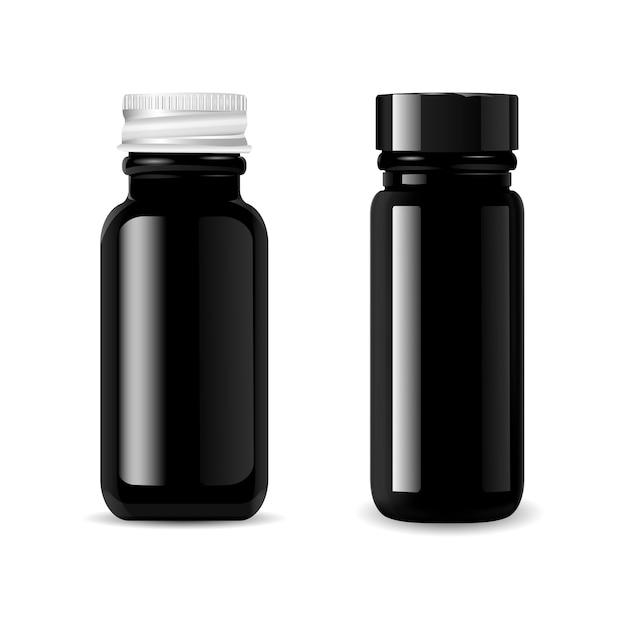 Conjunto de maquete de garrafas de vidro preto cosméticos Vetor Premium