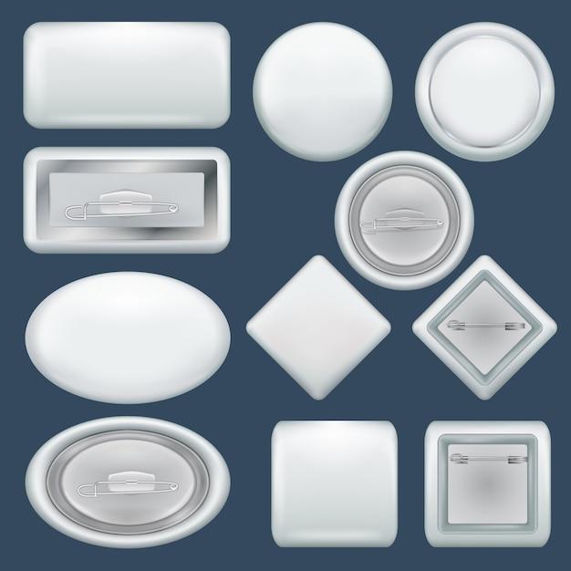 Conjunto de maquete de lembrança de crachá. ilustração realista de 10 maquetes de lembrança de crachá para web Vetor Premium