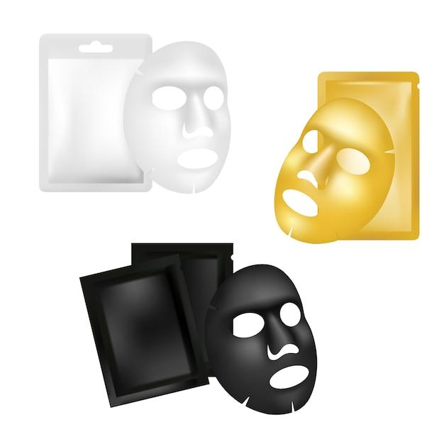 Conjunto de maquete de máscara e sachê de folha facial, ilustração realista Vetor Premium