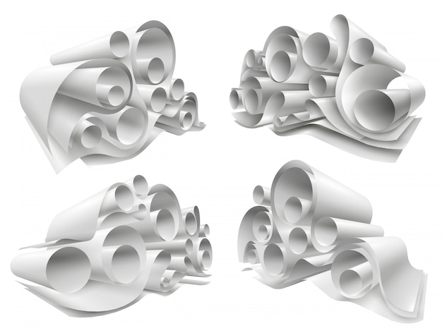 Conjunto de maquete de rolos de papel 3d Vetor grátis