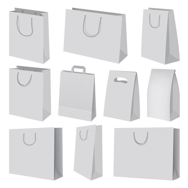 Conjunto de maquete de saco de papel. ilustração realista de 10 maquetes de saco de papel para web Vetor Premium