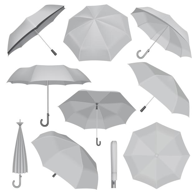 Conjunto de maquete do guarda-chuva. ilustração realista de 10 maquetes de guarda-chuva para web Vetor Premium