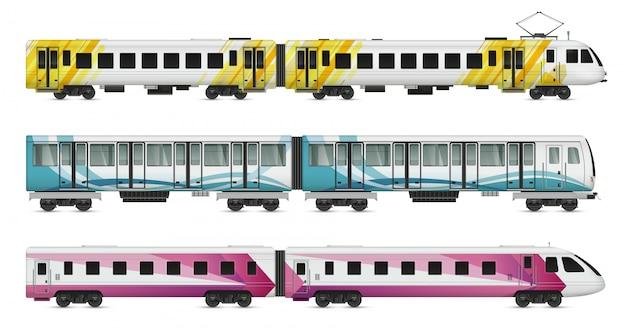 Conjunto de maquete realista de trem de bonde de passageiros de trens subterrâneos metropolitanos e interurbanos na ilustração em branco Vetor grátis