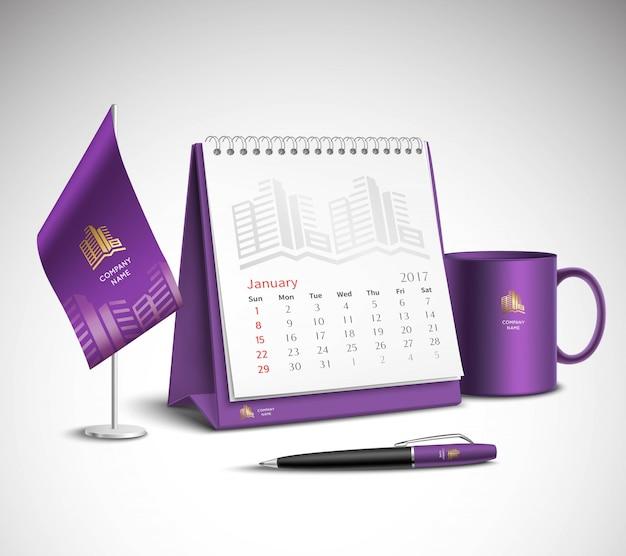 Conjunto de maquetes de identidade corporativa do calendário Vetor grátis