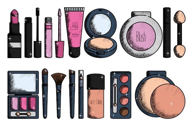 Conjunto de maquiagem acessórios de desenho Vetor grátis