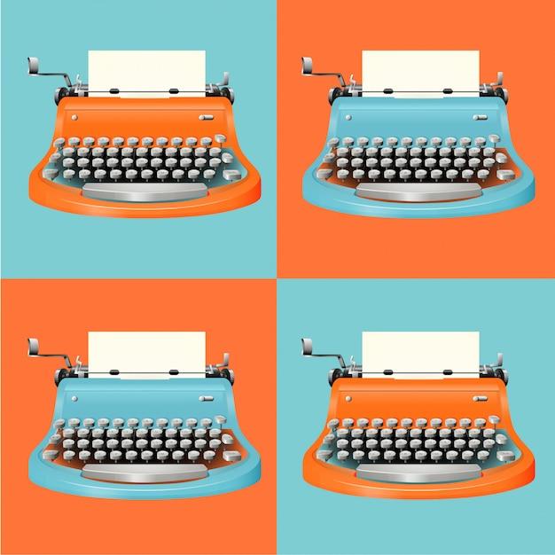 Conjunto de máquina de escrever vintage Vetor grátis