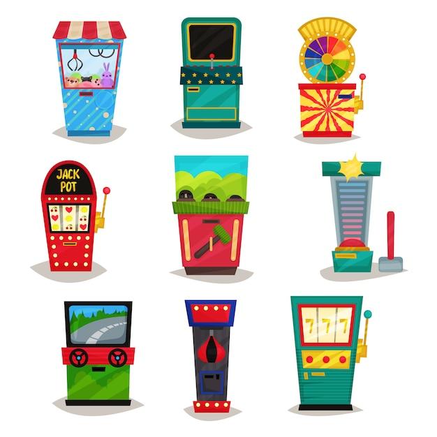 Conjunto de máquinas de jogo de arcade retrô, garra guindaste, testador de força, simulador de auto, roda da fortuna, boxe ilustração sobre um fundo branco Vetor Premium