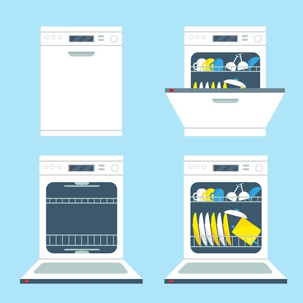 Conjunto de máquinas de lavar louça abertas e fechadas. ilustração de ícones de equipamentos de cozinha. Vetor Premium