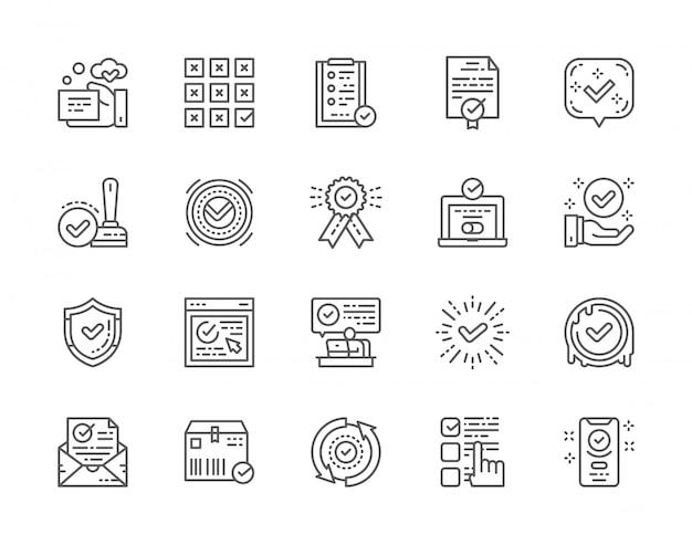Conjunto de marca de seleção e aprovar ícones de linha. Vetor Premium