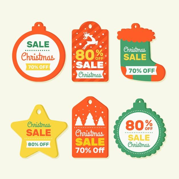 Conjunto de marca de vendas para produtos de natal Vetor grátis