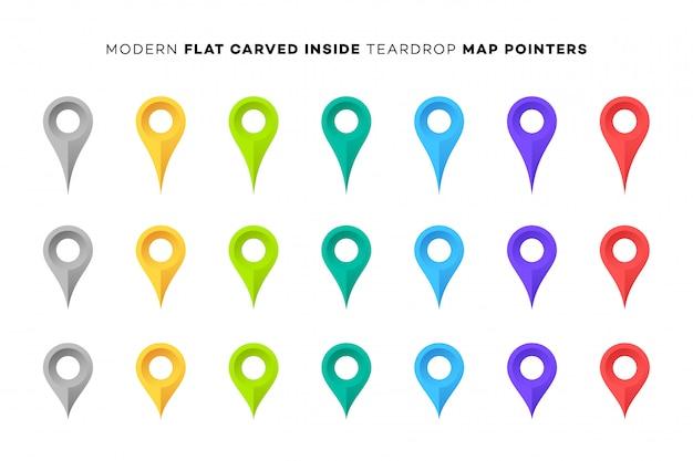 Conjunto de marcadores de mapa colorido. Vetor Premium