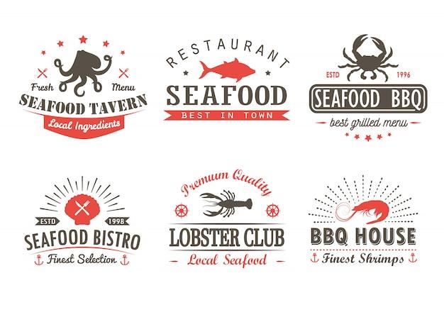 Conjunto de marisco vintage, churrasco, modelos de logotipo de grelha e emblemas Vetor Premium