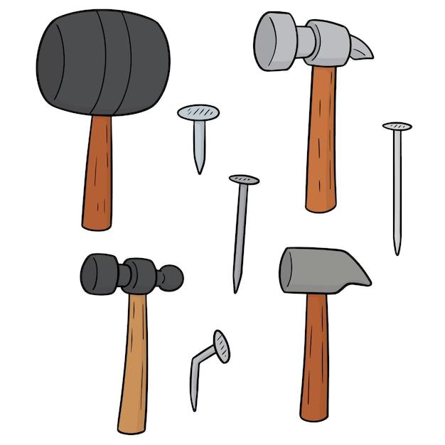 Conjunto de martelo e pregos Vetor Premium