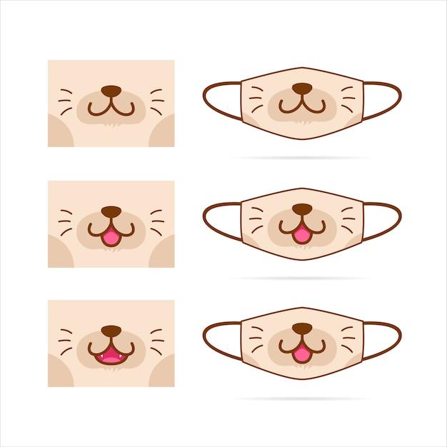 Conjunto de máscara facial com ilustração de rosto bonito gato marrom cachorro animal de estimação boca Vetor Premium