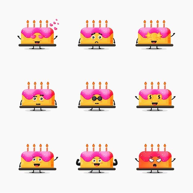 Conjunto de mascote de bolo de aniversário fofo Vetor Premium