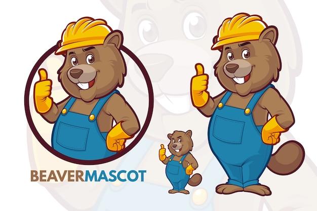 Conjunto de mascote de castor Vetor Premium